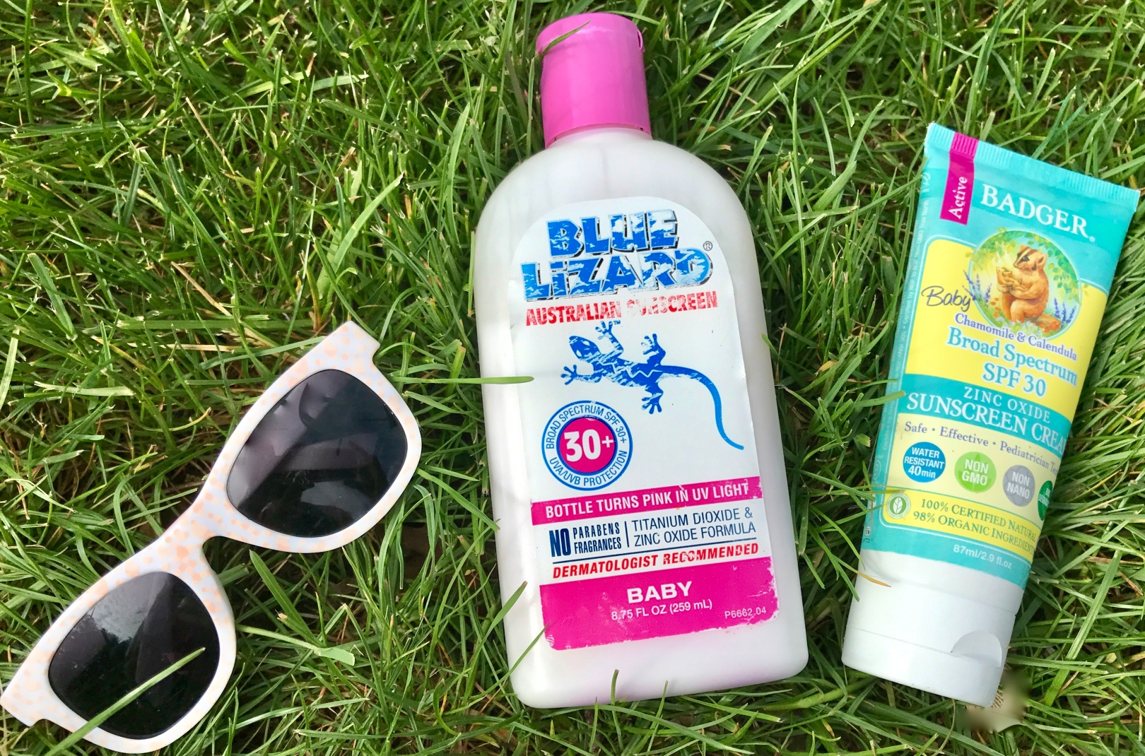 sunscreen and sunglasses